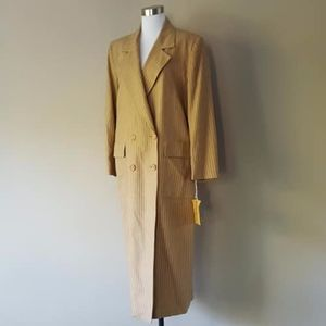 Christian Dior Camel Tan Striped Wool Car Coat